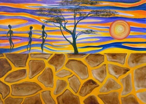 Закат в африканской саванне