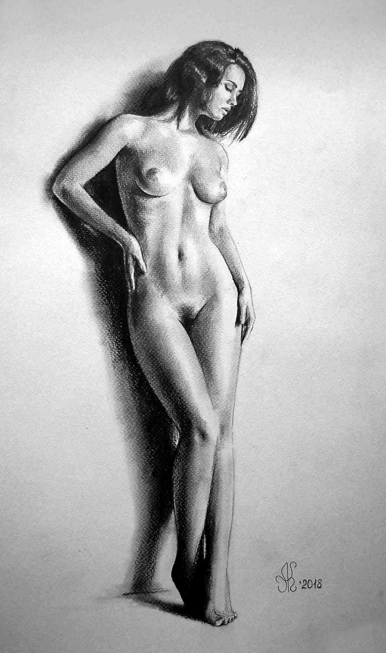 Эротический рисунок, портрет ню